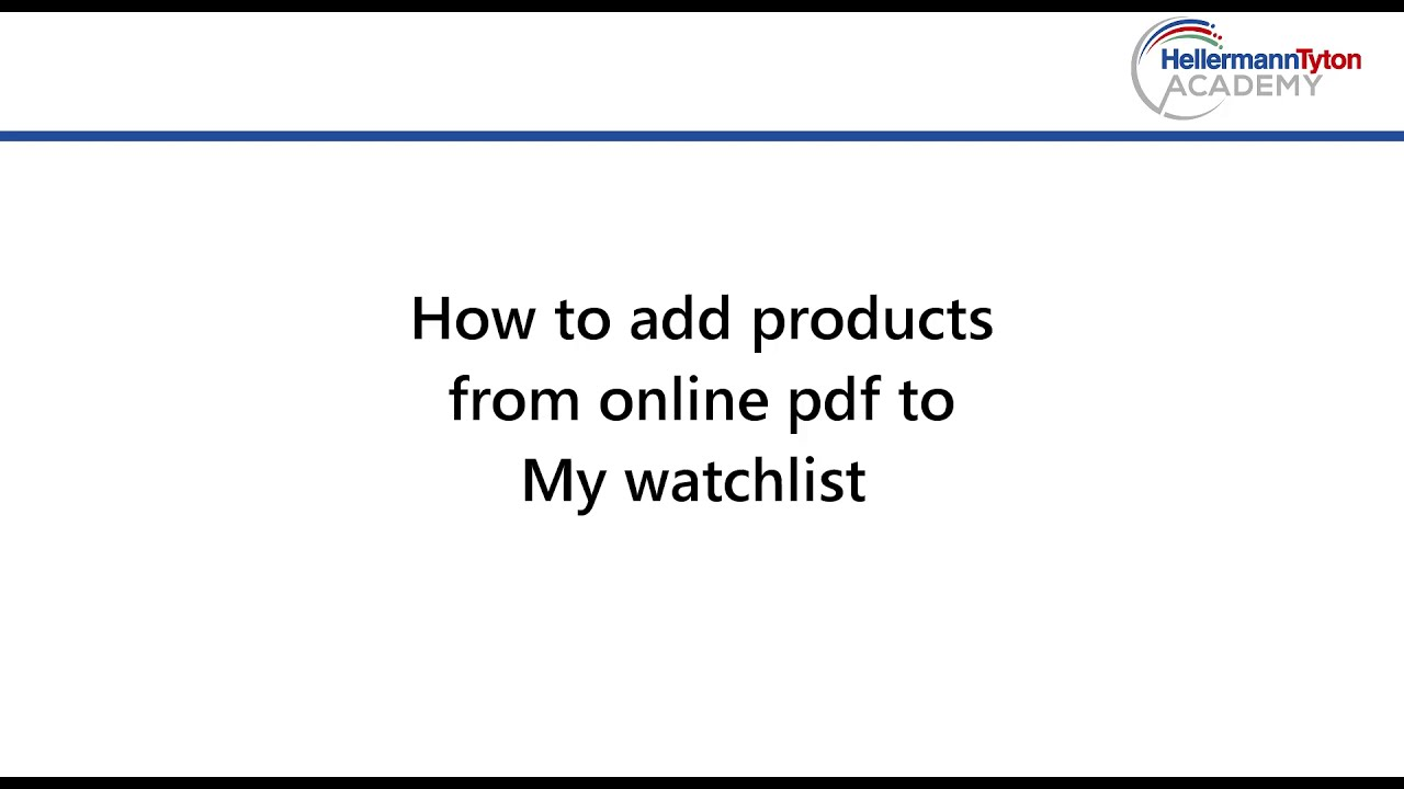 Add products from online Pdf to watchlist