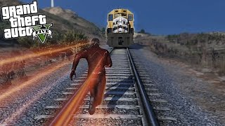 GTA 5 Mods - The Flash vs The Train