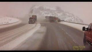 CRASH: Semi forces snow plow in Utah off the road, down a 300 foot embankment