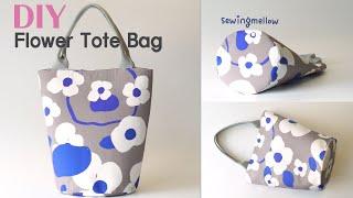 DIY Flower Tote Bag   Making A Round Bottom Handbag   Pattern(PDF)