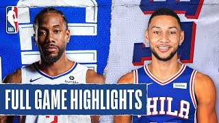 CLIPPERS at 76ERS   FULL GAME HIGHLIGHTS   February 11, 2020  The Philadelphia 76ers defeated the L.A. Clippers, 110-103. Ben Simmons collected his second consecutive triple-double as he tallied 26 PTS, 12 REB, and 10 AST. Joel Embiid contributed 26 PTS and 9 REB for Philadelphia, while Kawhi Leonard recorded 30 PTS and 9 AST for the Clippers.  Subscribe to the NBA: https://on.nba.com/2JX5gSN   Full Game Highlights Playlist: https://on.nba.com/2rjGMge  For news, stories, highlights and more, go to our official website at https://nba_webonly.app.link/nbasite  Get NBA LEAGUE PASS: https://nba.app.link/nbaleaguepass5