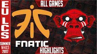 Fnatic vs Mysterious Monkeys Highlights ALL GAMES | EU LCS Week 4 Summer 2017 | FNC vs MM