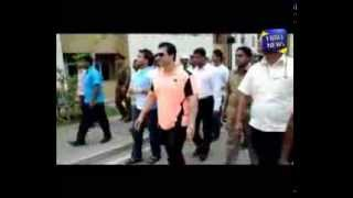 MP Namal Rajapakse and MP R Dumindha Silva inspect the housing complex in Dematagaoda.
