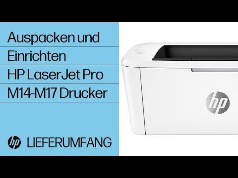 HP LaserJet Pro M14-M17 Drucker auspacken und einrichten