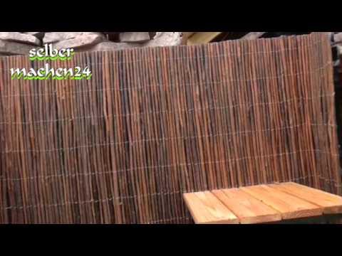 Mit Weidenmatten eine Betonmauer verkleiden - selber machen das macht Spaß und spart Geld