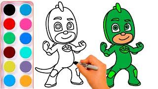 Aprender A Dibujar GECKO GREG PJ MASKS   Dibujos Para Dibujar   Heroes En Pijama #comodibujar
