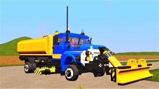 Русские грузовики ЗИЛ 130 и КАМАЗ нарушители - Мультик игра Brick Rigs