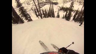 "Lick Creek backcountry skiing.  At 3:36, Skiing from the summit of Beaverdam Peak.  Footage includes the summit ridge, and the steep face along ""The Wall""."