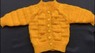 Knitting Easy Baby Sweater For 0 To 3 Months Baby