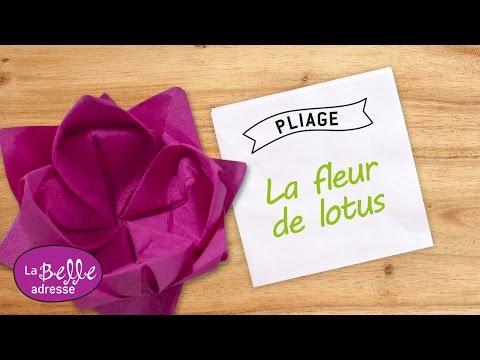 Pliage de serviette en papier fleur de lotus - LaBelleAdresse