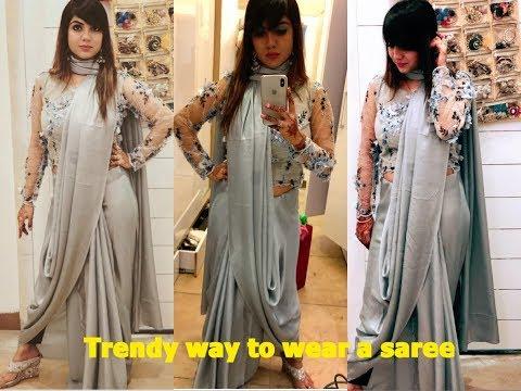 Trendy way of wearing a saree 👰🏻/saree tutorial /wear a saree like a designer dress/saree drapping