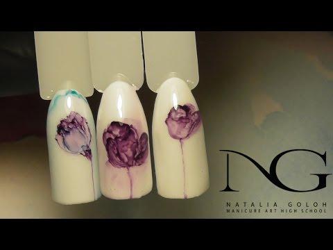 Весенний маникюр. Дизайн ногтей тюльпан/Spring manicure.Tulip in watercolor technique