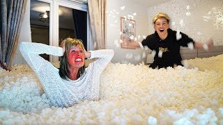 I Filled Mom's Room with 1,000,000 Packing Peanuts... *Gone Too Far*