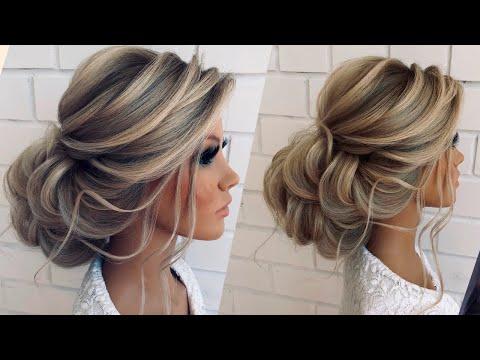 Низкий пучок из локонов   Wedding hairstyle tutorial