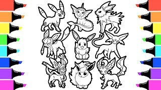 Pokemon Eevee Evolution Coloring Book I Colouring Videos For Kids