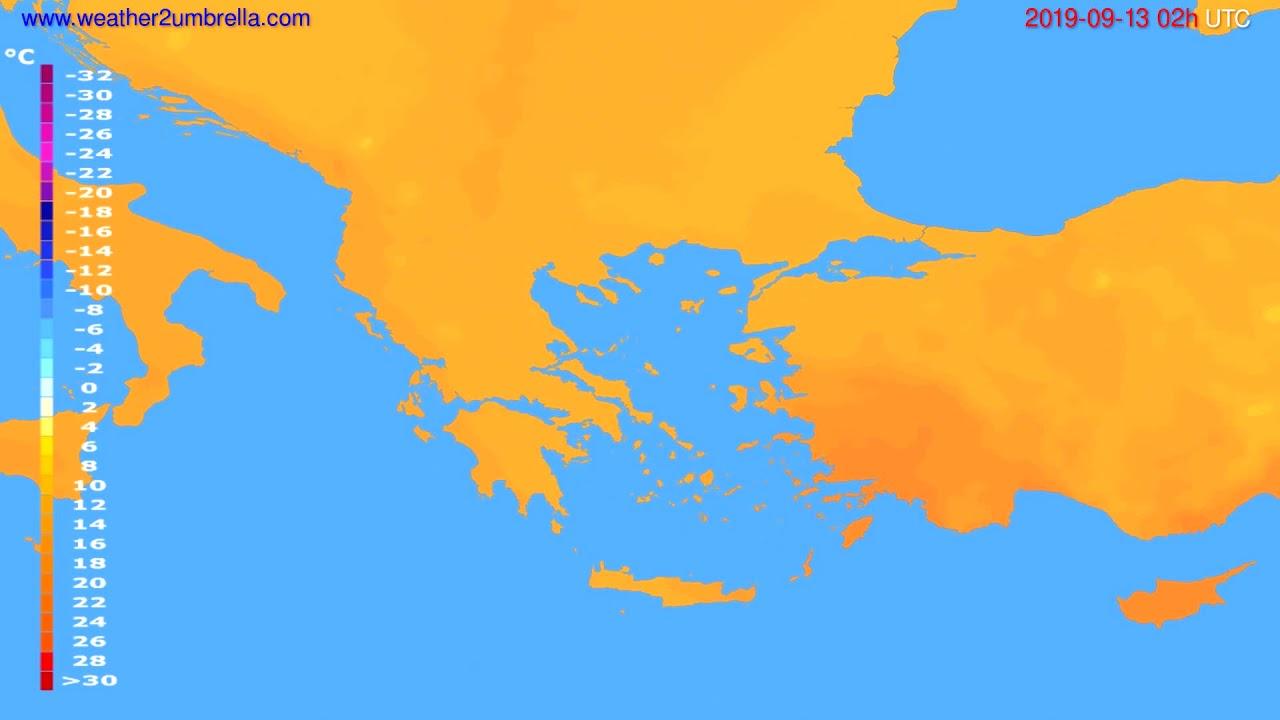 Temperature forecast Greece // modelrun: 12h UTC 2019-09-10