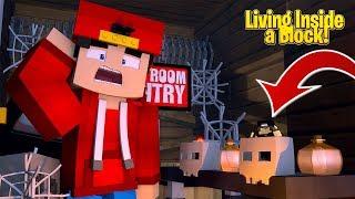 Minecraft Living inside a Block - SECERT SKULL BASE!!