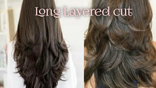 Long layered hair cut at home |simple & easy