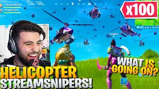 I Surprised My Random Duo With 100 HELICOPTER Streamsnipers! (Fortnite Battle Royale)