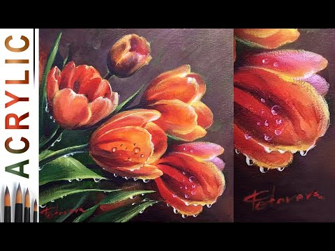 Tulips and Waterdrops. How to paint fowers 🎨ACRYLIC tutorial DEMO