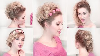 Easy Updo Hairstyles For Everyday ❤ Curly Medium Long Hair Tutorial