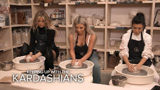 KUWTK | Kim, Khloé & Kourtney Kardashian Bond Creating Pottery | E! - Video Youtube