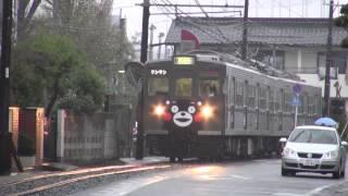 熊本電鉄・くまモン電車@併用軌道区間