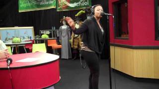 Chrisette Michele performs - I'm Your Life - while visiting the Red Velvet Cake Studio.