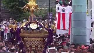 平成25年 神田祭り 神輿宮入 神田佐久二平河町会 参道渡り御 所です  。