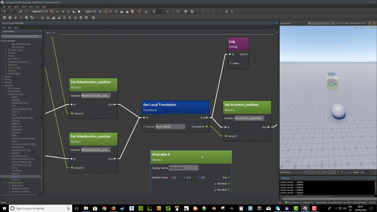Amazon Lumberyard Script Canvas une porte Partie 11