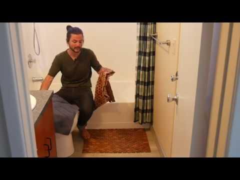 Unboxing Video: Foldable Teak Bath Mat Mildew Resistant Wood with Non Slip Shower Pads