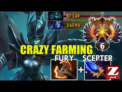 Pro PHANTOM ASSASSIN CRAZY Fast Farming With BATTLE FURY & AGHANIM'S SCEPTER - EZ Comback DOTA 2