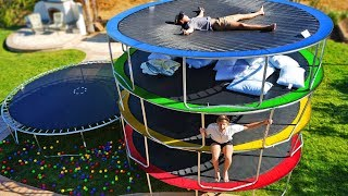 LAST TO LEAVE TRAMPOLINE TOWER WINS! EXTREME TRAMPOLINE PARK CHALLENGE!!!