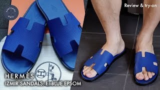 Hermès Izmir Mens Sandals In Electric Blue Epson: Detailed Review & Try On