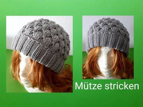Mütze mit Hebemaschen stricken