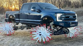 F350 on REAPER WHEELS Literally Tills FROZEN DIRT