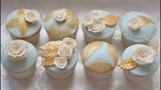 Creative Cupcake Design - Duck Egg Blue And Gold Cupcakes