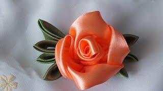 Цветок из атласных лент за 5  мин просто быстро красиво