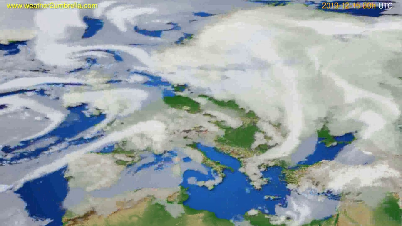 Cloud forecast Europe // modelrun: 00h UTC 2019-12-14