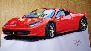 How to Draw Car Step by Step Easy | 3d Car Driving | Car Painting | 3D Art Drawing  ✔