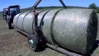 МТЗ 82.1 и самодельный перевозчик круглых тюков(рулонов)