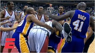 Shaquille O'Neal and Charles Barkley fight during Lakers vs. Rockets game (1999) | ESPN Archives
