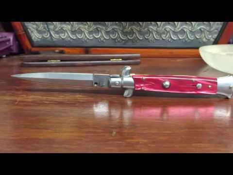 Frank Beltrame 9″ Italian automatic Stiletto w/ Red Pearlex scales and Dagger grind – Review