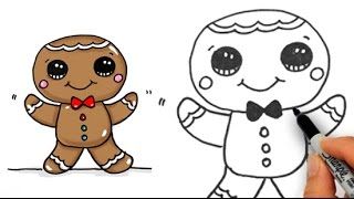 How to Draw Cute Gingerbread Man Easy for Beginners