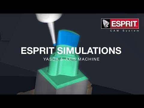 ESPRIT simulation of a blade on a Yasda 5-axis machine