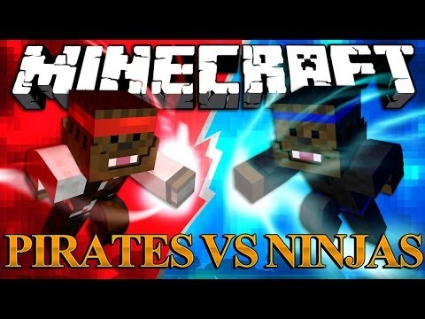 Minecraft Ninja Mod vs Pirate Mod - Mod Battles! #1 | JeromeASF