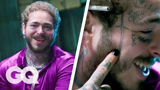 In Post Malone's first appearance on 'Tattoo Tour,' he said he might get a sword on his face. Well, he did and now he's here to talk about it and all of his other new ink. Join Post Malone as he breaks down all of his tattoos, from the Lil Peep-inspired one on his face to the first one he ever got (a Playboy bunny on his arm).  Still haven't subscribed to GQ on YouTube? ►► http://bit.ly/2iij5wt  ABOUT GQ For more than 50 years, GQ has been the premier men's magazine, providing definitive coverage of style, culture, politics and more. In that tradition, GQ's video channel covers every part of a man's life, from entertainment and sports to fashion and grooming advice. So join celebrities from 2 Chainz, Stephen Curry and Channing Tatum to Amy Schumer, Kendall Jenner and Kate Upton for a look at the best in pop culture. Welcome to the modern man's guide to style advice, dating tips, celebrity videos, music, sports and more.  https://www.youtube.com/user/GQVideos  Post Malone Breaks Down His Tattoos Part 2   GQ