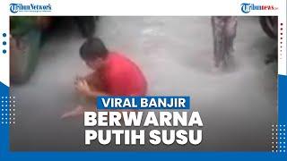 Viral! Warga Dihebohkan Banjir Berwarna Putih Seperti Susu di Sunter Jaya