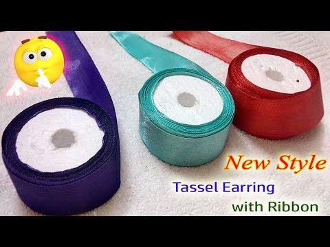 DIY | NEW PROCESS TO MAKE THIS STYLISH EARRINGS USING RIBBON | EARRING MAKING | JEWELLERY MAKING