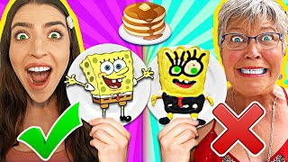 PANCAKE ART CHALLENGE!! Learn How To Make Spongebob, Spiderman, The Hulk & Marvel Superheroes DIY!